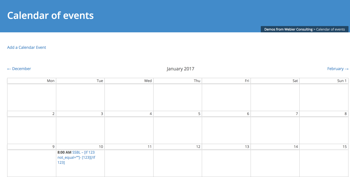 Calendar of Events Custom Solution