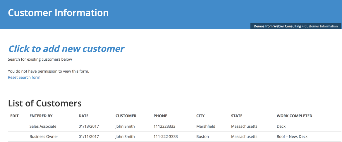 CRM – Customer Database