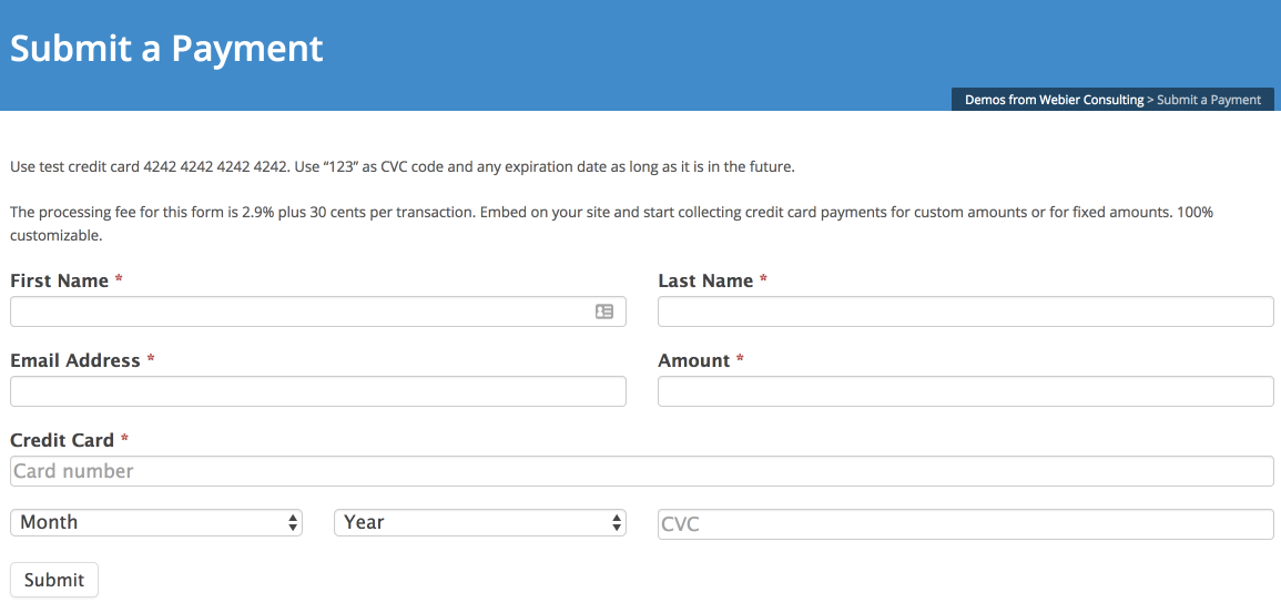 custom stripe payment form